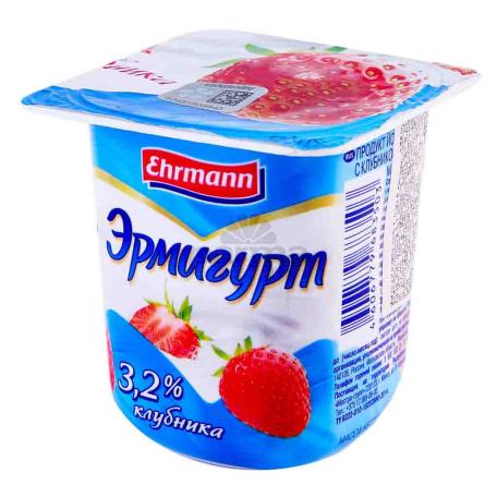 Յոգուրտային արտադրանք «Ehrmann Эрмигурт» ելակ 3.2% 100գ