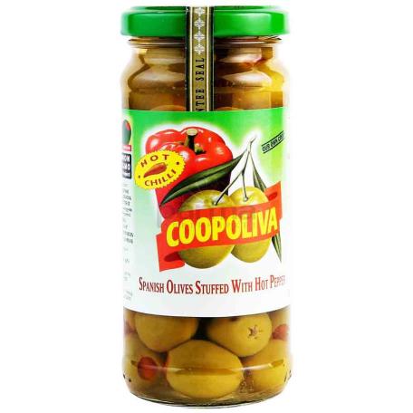 Ձիթապտուղ «Coopoliva» կանաչ, կծու պղպեղով 235գ