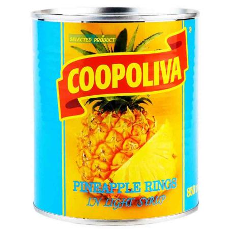 Պահածոյացված արքայախնձոր «Coopoliva» օղակներ 850գ