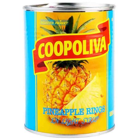 Պահածոյացված արքայախնձոր «Coopoliva» ամբողջական 565գ