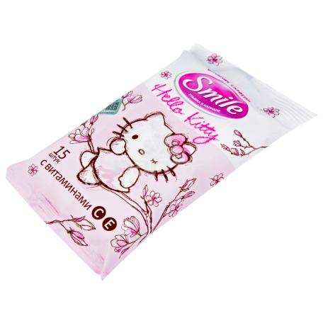 Անձեռոցիկ խոնավ «Smile Hello Kitty» 15 հատ