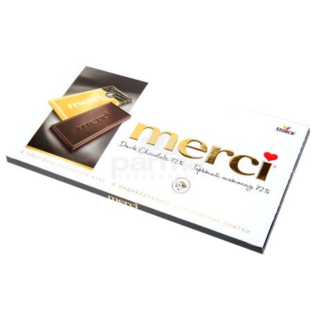 Շոկոլադե սալիկ «Merci» մուգ շոկոլադ 72% 100գ