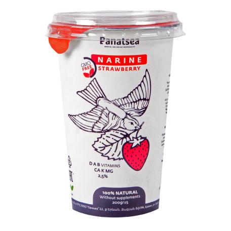Կաթնաթթվային սննդամթերք «Նարինե Panatsea» ելակ 2.5% 200գ