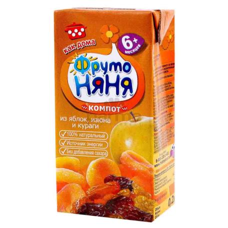Կոմպոտ «Фруто Няня» խնձոր, չամիչ, չիր 6+ 200մլ