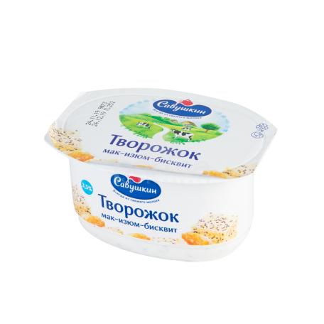 Յոգուրտ կաթնաշոռային «Савушкин» կակաչի սերմեր, չամիչ 120գ