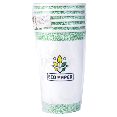Մեկանգամյա օգտագործման բաժակներ «Eco Paper» 6 հատ