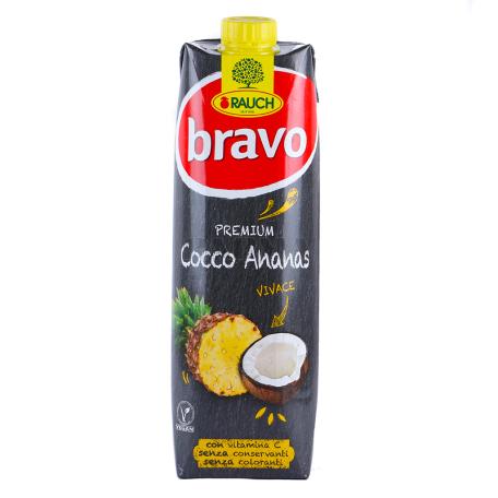 Հյութ բնական «Bravo» արքայախնձոր, կոկոս 1լ