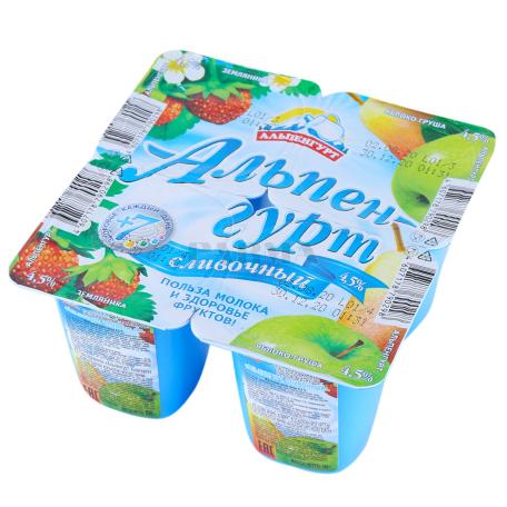 Յոգուրտային արտադրանք «Альпенгурт» գետնամորի, խնձոր, տանձ 4.5% 100գ
