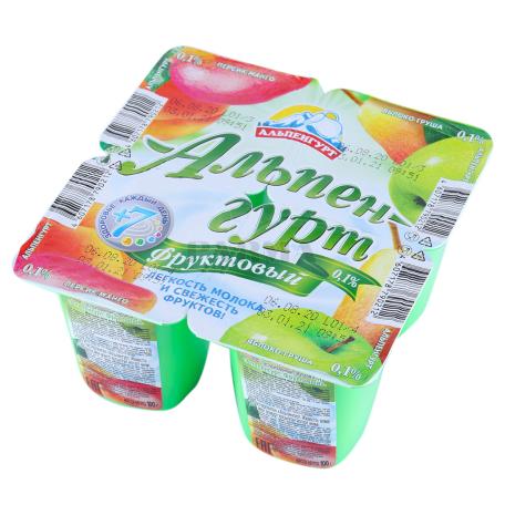 Յոգուրտային արտադրանք «Альпенгурт» դեղձ, մանգո, տանձ, խնձոր 0․1% 95գ