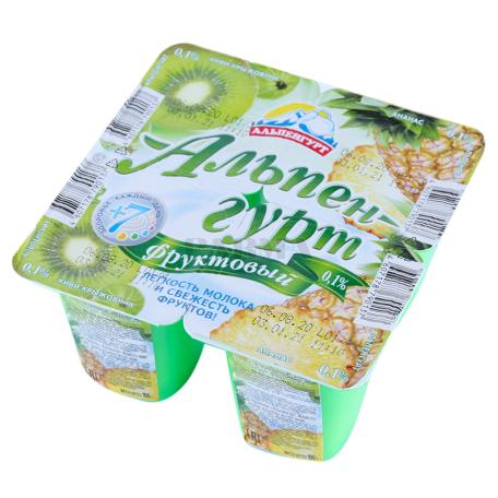 Յոգուրտային արտադրանք «Альпенгурт» արքայախնձոր, կիվի, փշահաղարջ 0․1% 100գ