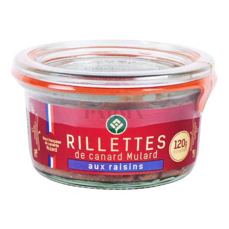Պահածո բադի «Rillettes De Canard Aux Raisins» 120գ