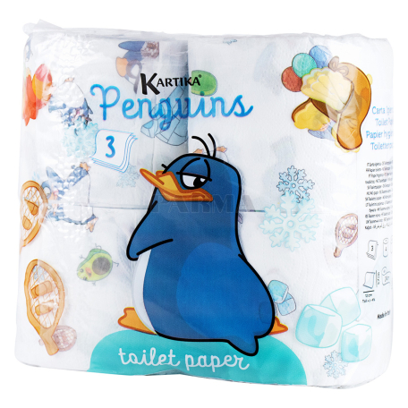 Զուգարանի թուղթ «Kartika Penguins» 4 հատ