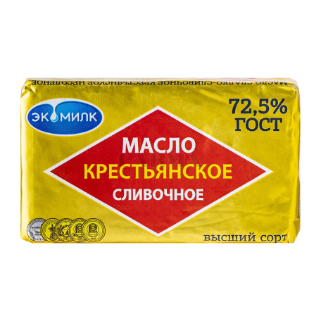 Կարագ սերուցքային «Экомилк Крестьянское» 72.5% 180գ