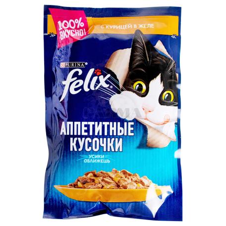 Կատվի կեր «Felix» հավի մսով, ժելեում 85գ