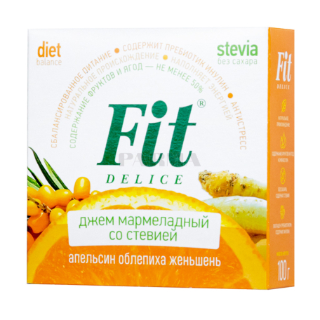 Ջեմ «Fit Delice» մարմելադային, նարինջ, չիչխան, ժենշեն 100գ