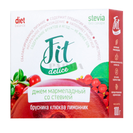 Ջեմ «Fit Delice» մարմելադային, կարմիր հապալաս, լոռամիրգ, կիտրոն 100գ