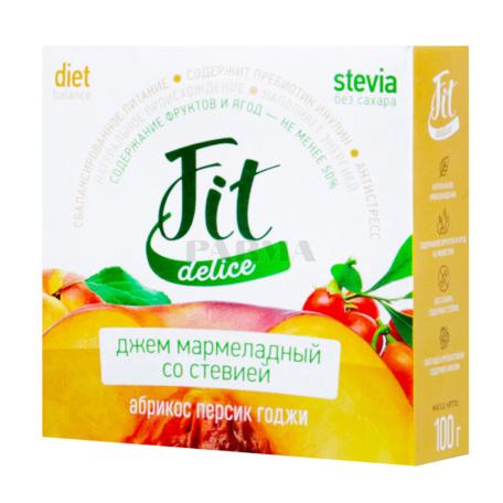 Ջեմ «Fit Delice» մարմելադային, ծիրան, դեղձ, հազազ բերբերի 100գ